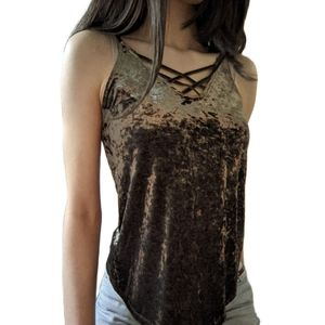 3/$25 - Crushed velvet fairy grunge crisscross top